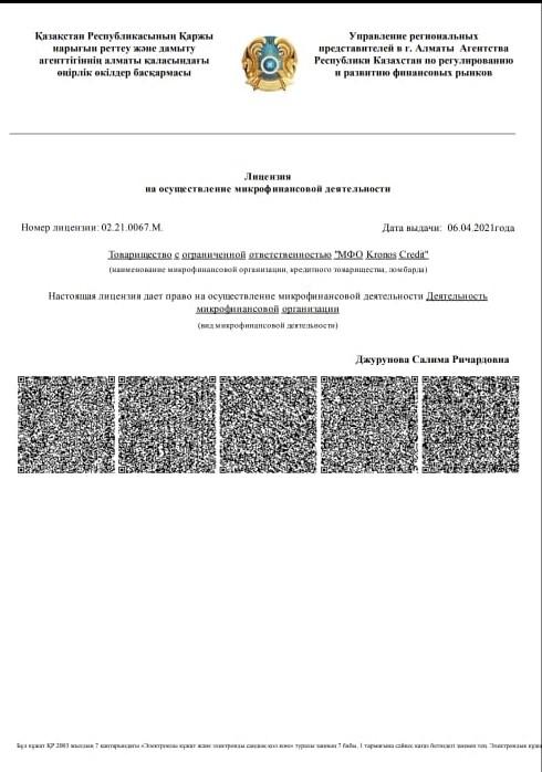 лицензии на осуществление микрофинансовой деятельности № 02.21.0067.М. дата выдачи 06.04.2021 года